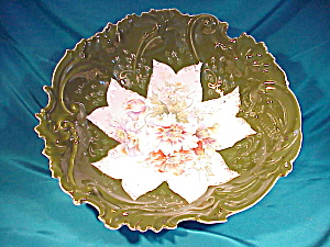 RS PRUSSIA (STEEPLE) LG GREEN FLORAL BOWL (Image1)