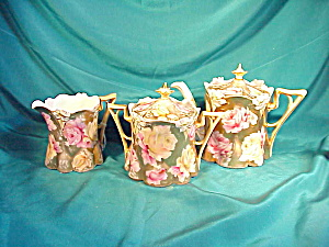 RS PRUSSIA LILY MOLD TEA SET W/GOLD,GOLD,GOLD (Image1)