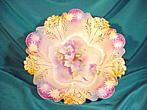 RS PRUSSIA LILY MOLD BOWL W/PURPLE CLEMATIS (Image1)