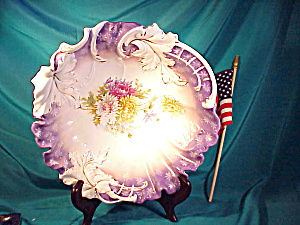 RS PRUSSIA LEAF MOLD PURPLE FLORAL BOWL (Image1)