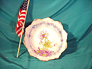 RS PRUSSIA  TRI-FOOT BOWL W/ PURPLE VIOLETS (Image1)