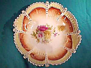 "RS PRUSSIA (SAXE ALTENBURG) 10"" Bowl with Chrysanthemums (Image1)"