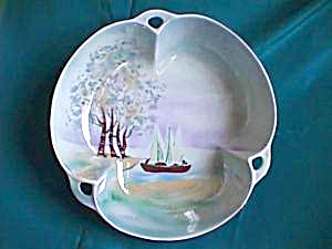 ES PROV SAXE  Tri-part Bowl, hand painted with Trees and Boat (Image1)