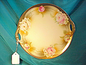 Rs Prussia O.h. Roses Plate/heavy Gold