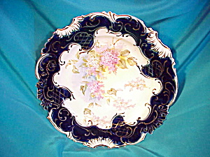 RS PRUSSIA(UM) COBALT W/GOLD LILACS PLATE (Image1)