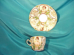 RS PRUSSIA PORTRAIT CUP AND SAUCER W/GOLD (Image1)