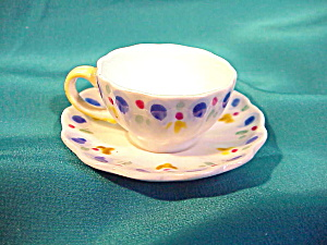 ENGLISH  DOLLS CUP/SAUCER BONE CHINA W/COBALT (Image1)