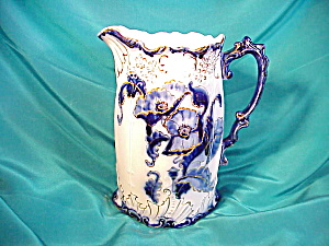 RS PRUSSIA(?) COBALT/GOLD LEAF SPOUT PITCHER (Image1)