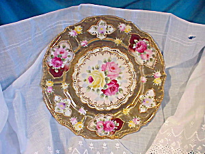 RS PRUSSIA(?)NIPPON(?)GOLD BEADS, ROSES PLATE (Image1)