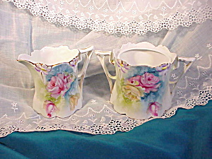 RS Prussia Lily Mold Cream and Sugar w/flower (Image1)