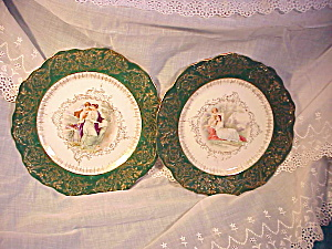 Pair RS Prussia Portrait Plates/hand painted (Image1)