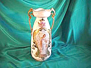 "RS PRUSSIA (ES ) 11"" VASE WITH WOMAN WITH DOVES (Image1)"
