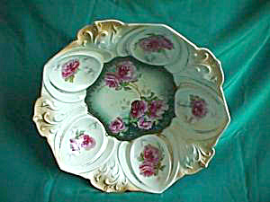 """RS PRUSSIA  hand painted Dome Mold 10 1/2"""" bowl (Image1)"""