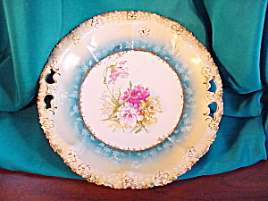 RS PRUSSIA STIPPLED FLORAL LARGE OH PLATE (Image1)