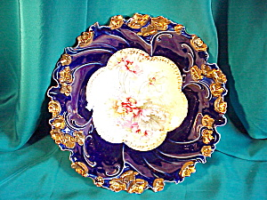 RS PRUSSIA(UM) COBALT AND GOLD FLORAL BOWL (Image1)