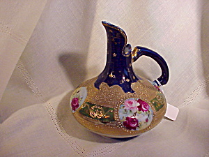 AWESOME NIPPON COBALT AND GOLD BEADS EWER (Image1)