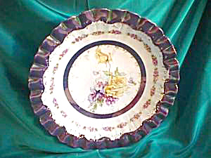 RS PRUSSIA (RAISED NICKLE CIRCLE) HUGE TIFFANY TRIMMED AND BANDED BOWL (Image1)