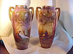 RS PRUSSIA PAIR OF VASES - PHEASANTS (Image1)