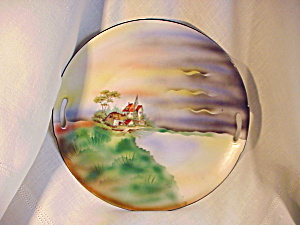 RS PRUSSIA HAND PAINTED LAKE/CHURCH PLATE (Image1)