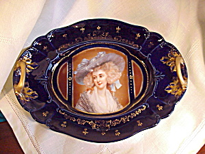 RS PRUSSIA COBALT/GOLD PORTRAIT TRAY (Image1)