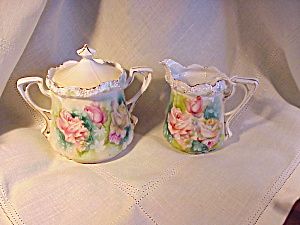 RS PRUSSIA STIPPLE FLORAL CREAM AND SUGAR (Image1)