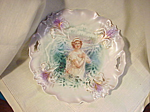 RARE RS PRUSSIA IRIS MOLD WINTER PLATE W/TIFF (Image1)