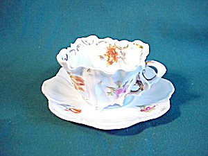RS Prussia square cup and saucer with flowers (Image1)