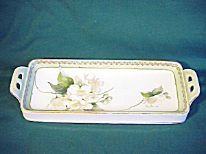 RS PRUSSIA handled Butter Dish w/dogwoods (Image1)