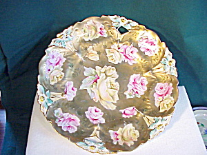 RS PRUSSIA GOLD/ROSES O.H. LILY MOLD PLATE (Image1)