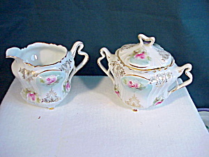 RS PRUSSIA FOOTED  ORNATE  CREAM AND SUGAR (Image1)