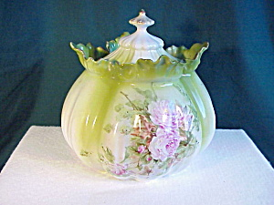 RS PRUSSIA MELON MOLD FLORAL BISCUIT JAR (Image1)