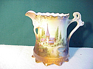 Rs Prussia Castle Scene Cream W/flower Spout