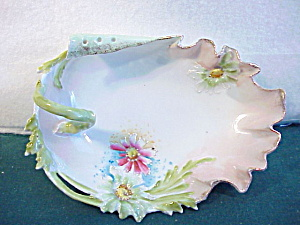 RS PRUSSIA RETICULATED  BLOWN FLOWER PIN DISH (Image1)