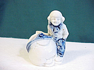 Cobalt And White Figural Toothpick Holder