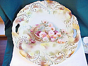 Rs Prussia Plume Mold Basket Of Flowers Plate