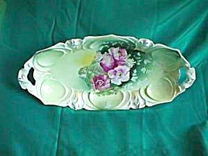 "RS PRUSSIA HANDPAINTED 14"" x 6 1/2"" oval bowl (Image1)"