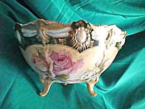 "RS PRUSSIA RIBBON AND JEWEL FOOTED BOWL 8"" X 4 1/2"" (Image1)"