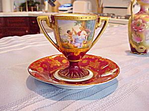 RS PRUSSIA PEDESTAL H.P. CUP/SAUCER MYTHOLOGI (Image1)