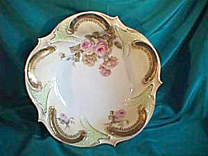 "RS PRUSSIA (RED MARK)  11"" X 3"" MINT BOWL W/GOLD TRIM AND ROSES (Image1)"