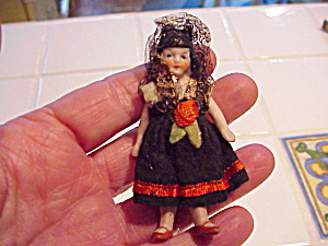 German Bisque Doll In Spanish Style Clothes