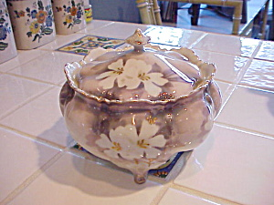 Rs Prussia Surreal Dogwood Footed Biscuit Jar