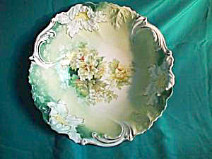 "RS PRUSSIA Steeple Mold 10 1/2"" blown out bowl with Bouquet (Image1)"