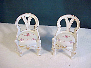 PAIR OF PORCELAIN CHAIRS, RETICULATED W/GOLD (Image1)