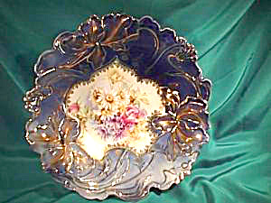 RS PRUSSIA (RAISED CIRCLE MARK) COBALT BLOWN OUT IRIS BOWL (Image1)
