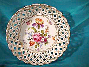 RS PRUSSIA (ES) RETICULATED DRESDEN FLOWERS BOWL (Image1)