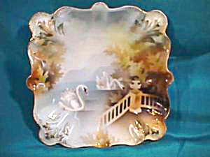 RS PRUSSIA (RED MARK) SQUARE DISH WITH SWANS & TERRACE (Image1)