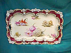 RS PRUSSIA (RED MARK) DRESSER TRAY W/RED TRIM & GOLD (Image1)