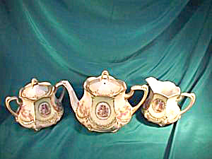 "RS PRUSSIA (RED MARK) ""COLONIAL COUPLE"" TEA SET (Image1)"