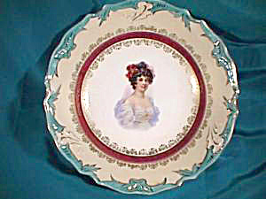 RS PRUSSIA (ES) PORTRAIT BOWL WITH TURQUOISE TRIM (Image1)