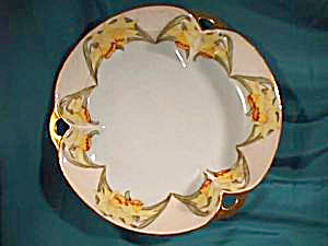 RS PRUSSIA (ES) HAND PAINTED DAFFODIL BOWL W/THREE HANDLES (Image1)